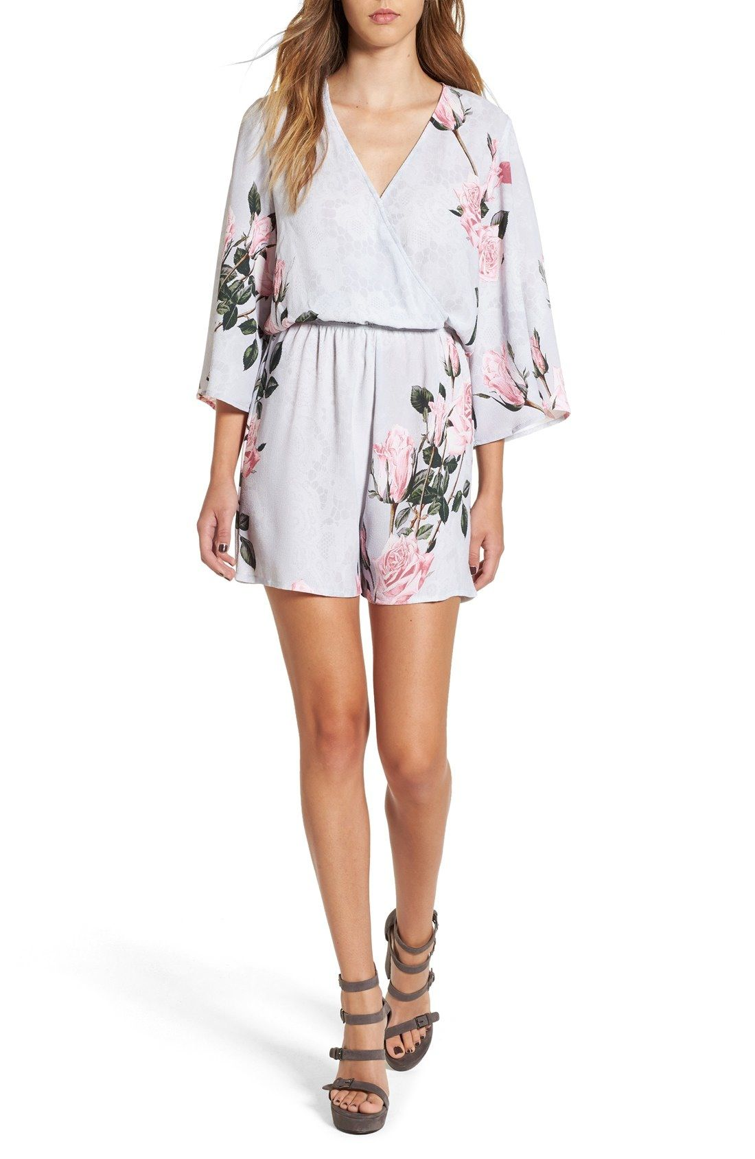 bace30bcca0 Glamorous Floral Print Lace Kimono Romper available at  Nordstrom ...