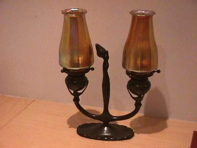 Tiffany Lampen Outlet : Tiffany studios: bronze candelabra with tiffany favrile shades circa
