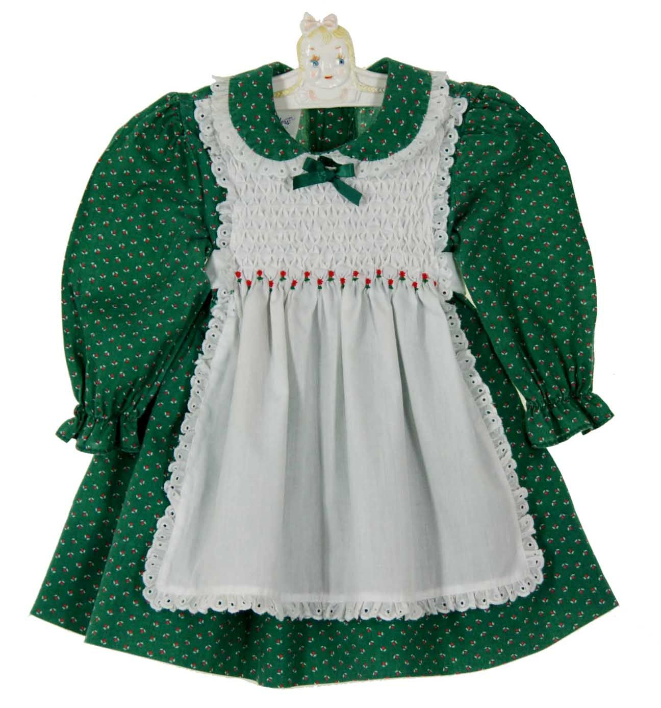 8c58ff90edd8 Polly Flinders Green Flower Print Pinafore Style Dress with White Smocking  $50.00 PollyFlindersPinaforeDress #PollyFlindersChristmasDress
