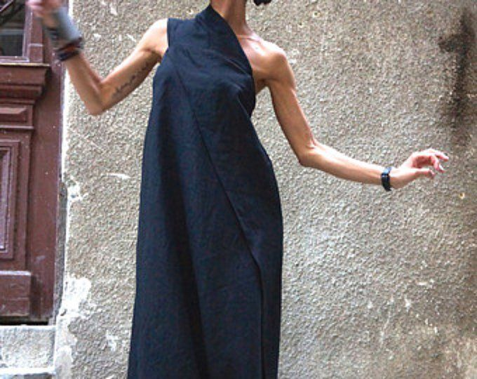 Hot Summer Maxi Dress Pine Green Linen Dress / One