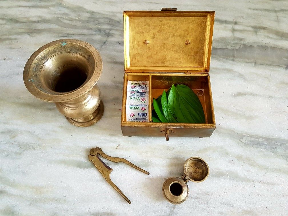 Antique Brass Paan Betel Set Completeincludes Paan Boxnut