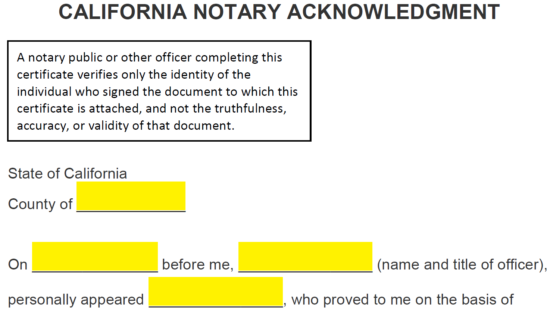 Free California Notary Acknowledgment Form Word Pdf Notary Stamp