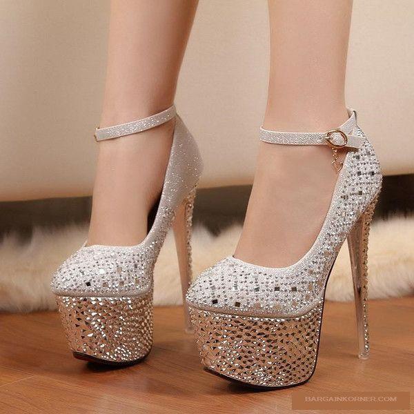 16 High Silver Waterproof Heel Cm ShoesSchuhe Diamond BQrdCWeExo