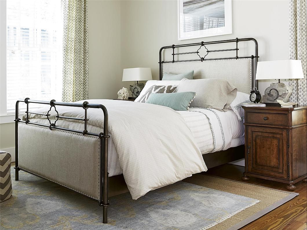 Love the metal and linen bed frame in this neutral room. | Spaces ...