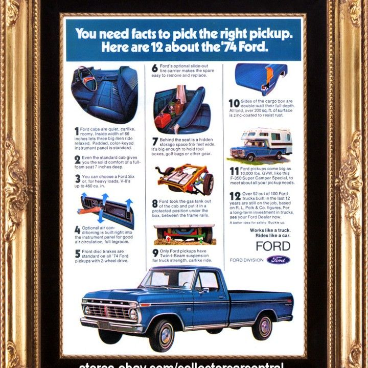 1974 Ford F100 Pickup Truck 12 Thing Blue Vintage Ad Pickup Trucks Vintage Ads Ford