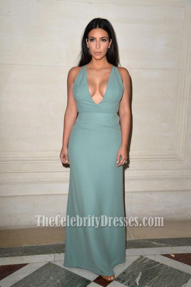 ba0b5125c0 Kim Kardashian Sexy Deep V-Neck Floor Length Evening Dresses