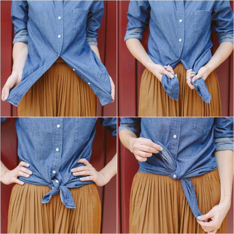 f405c7f11 Como Dar Nó Na Camisa | truques de styling | Dicas de looks, Looks e ...