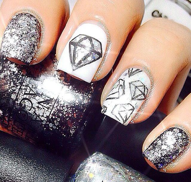 Silver black diamond nails
