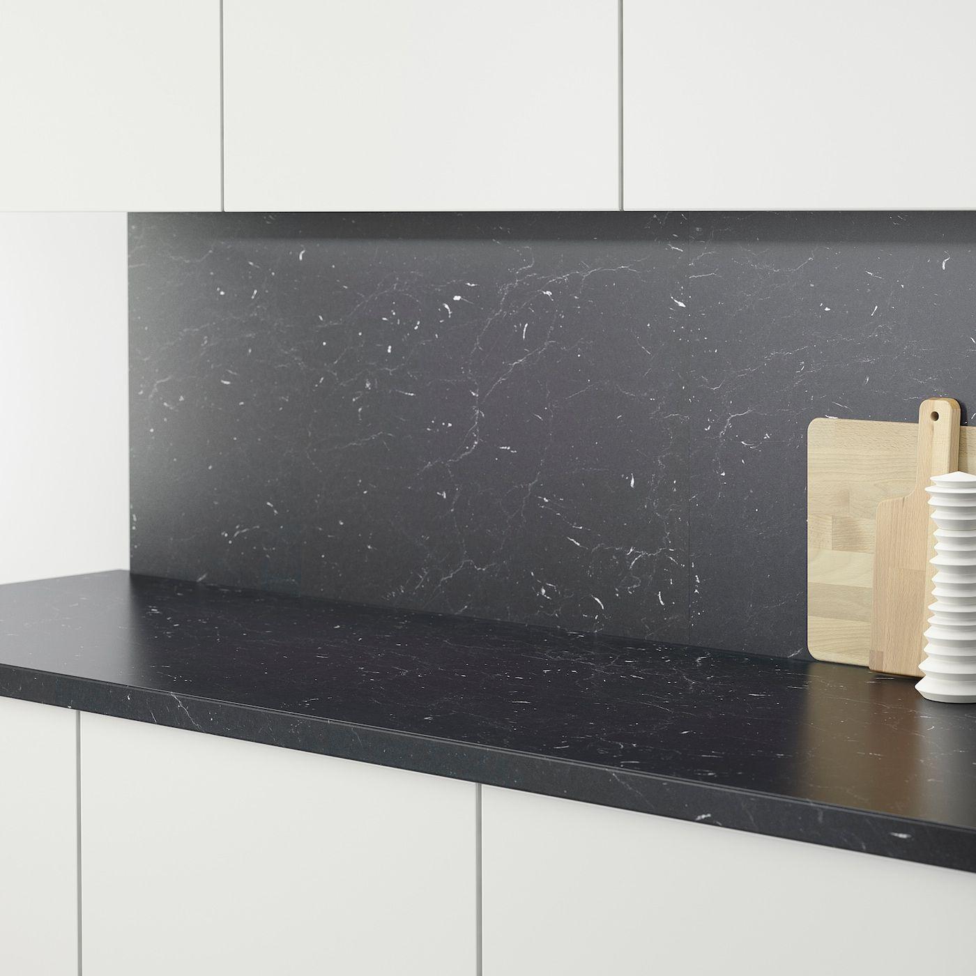 Saljan Arbeitsplatte Schwarz Marmoriert Laminat Ikea Osterreich In 2020 Countertops Marble Countertops Kitchen Black Marble Countertops