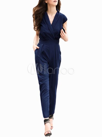 4785671b0f44 Sexy Navy Polyester Jumpsuit for Women - Milanoo.com