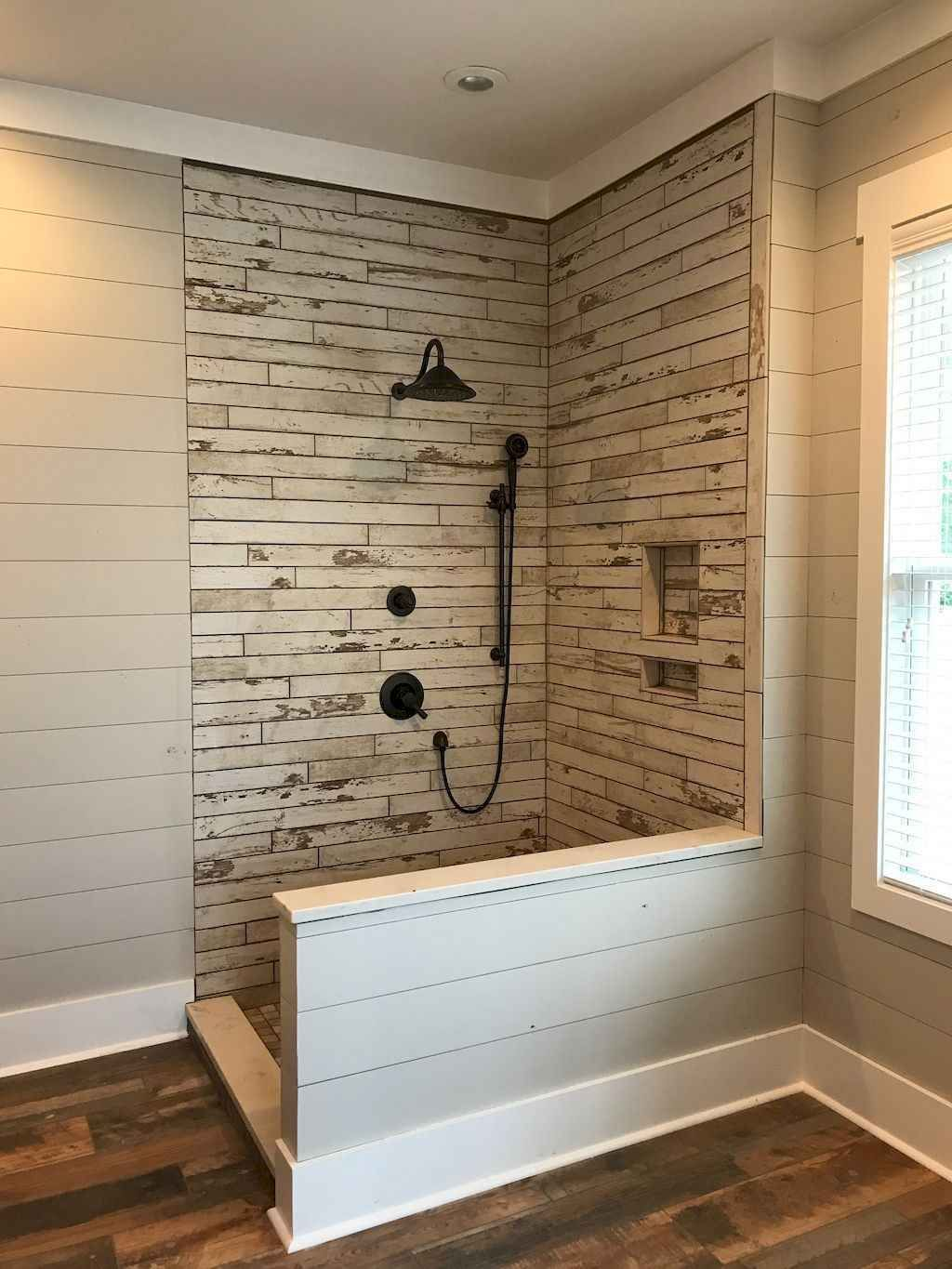 80 Awesome Farmhouse Tile Shower Decor Ideas (9 #bathroomtileshowers