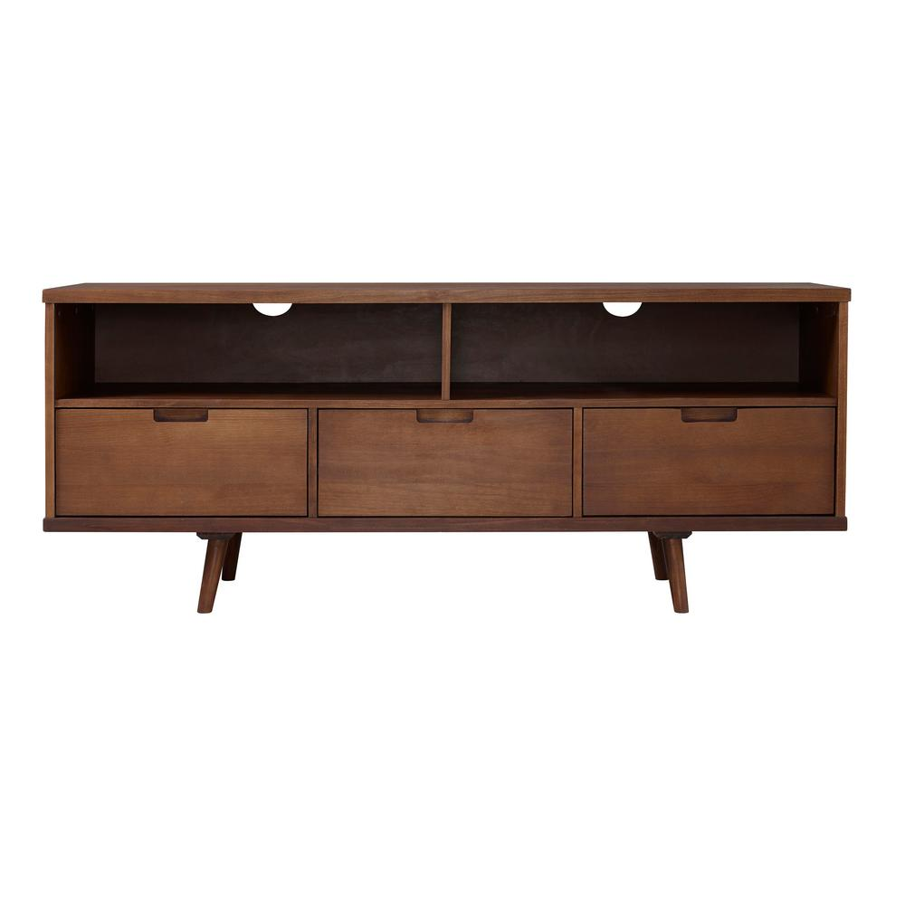 Walker Edison Furniture Company 58 In 3 Drawer Walnut Mid Century