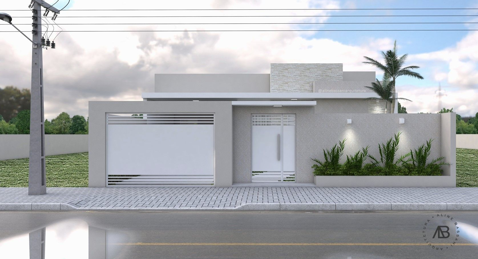 Projeto Arquitetônico Residencial - Casa Térrea com 100m² - Fachada Contemporânea - Volumetria reta e clean. Projeto de Aline Bassani Arquitetura