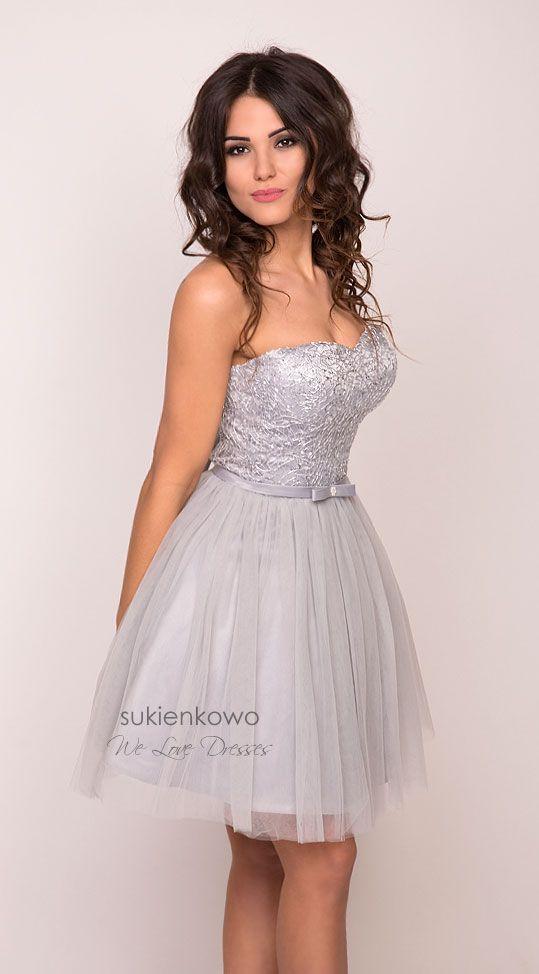 708ef0d40a Sukienkowo.pl - AMANDA gordetowa rozkloszowana sukienka szara ...