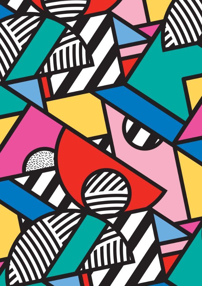 Colorful Memphis Modern Geometric Shapes Art Print #memphisdesign
