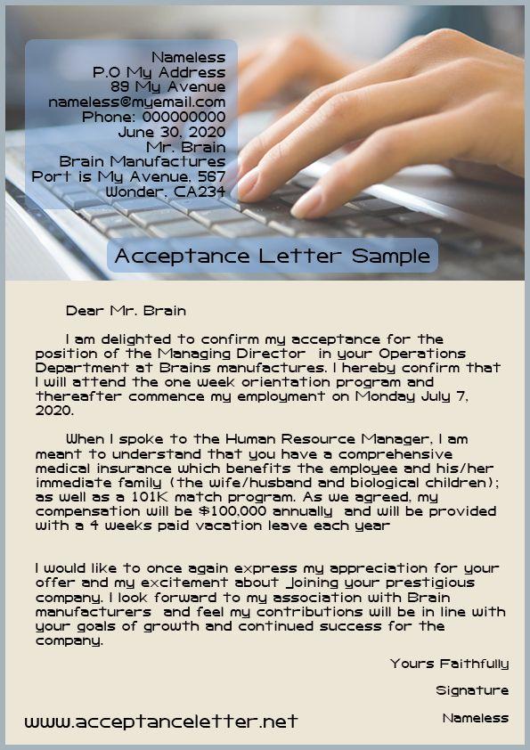 Acceptance Letter    wwwacceptanceletternet acceptance - acceptance letter sample