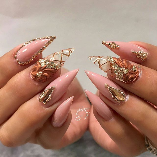 Rose Gold Glitter Stiletto Nails