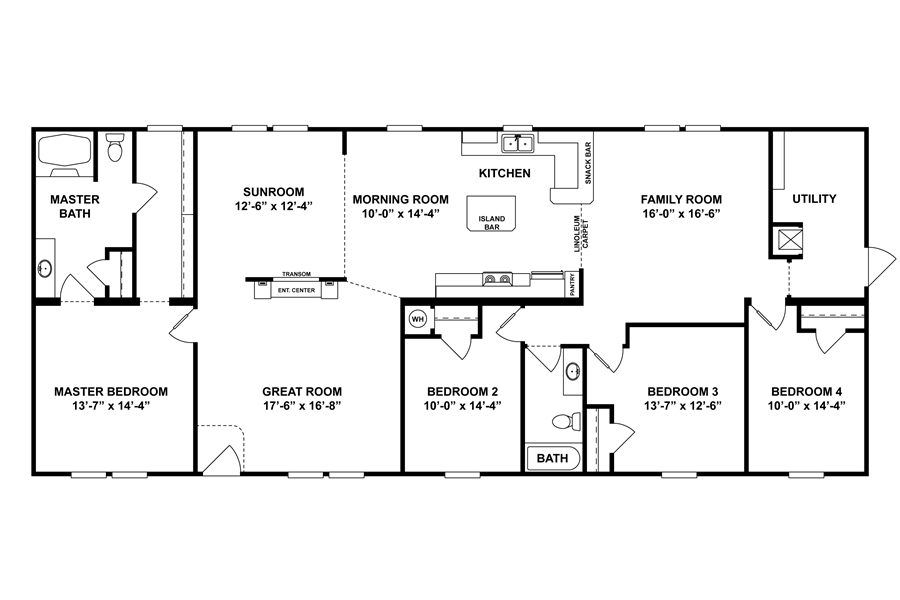 Floorplan Cmq32724a 25cmq32724ah Clayton Homes Of Tappahannock Tappahannock Va Modular Home Plans One Level House Plans Mobile Home Floor Plans