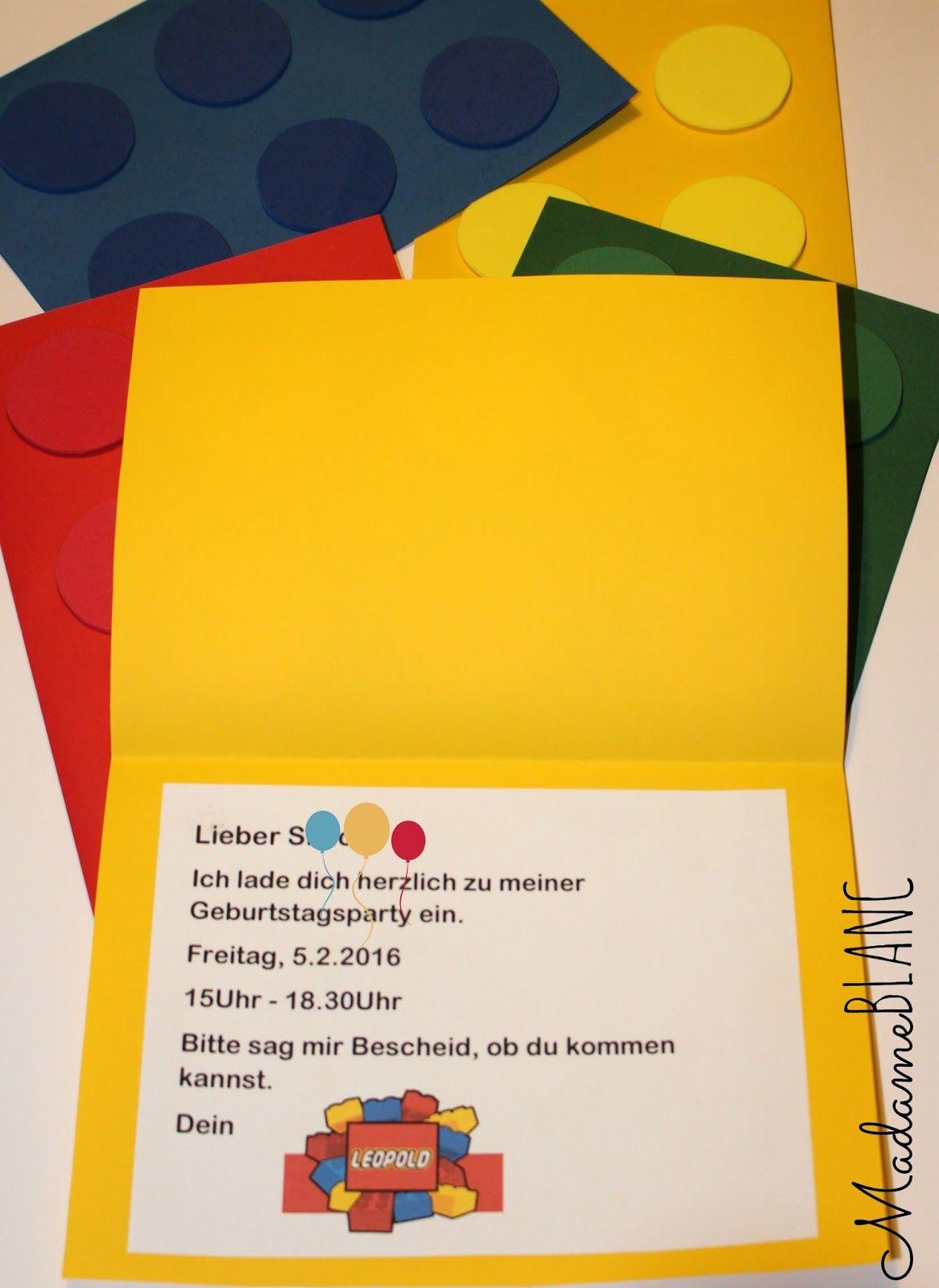 Legoparty Kindergeburtstag Lego Einladung