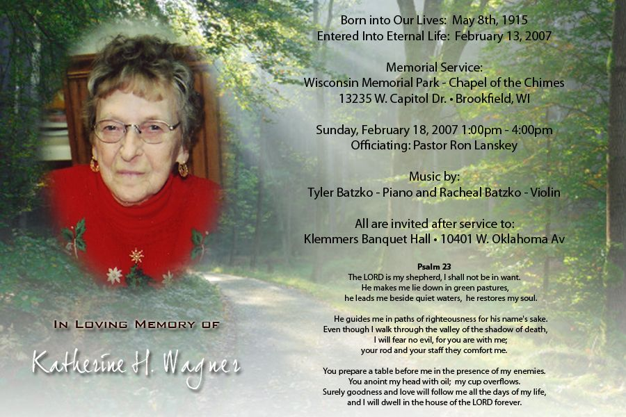 examples of memorial service announcements | home or womens lucky ...