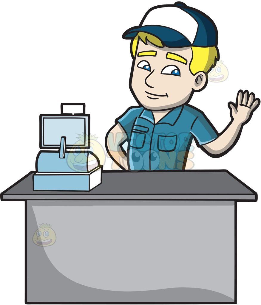 Cashier Cartoons: A Friendly Fast Food Cashier Employee