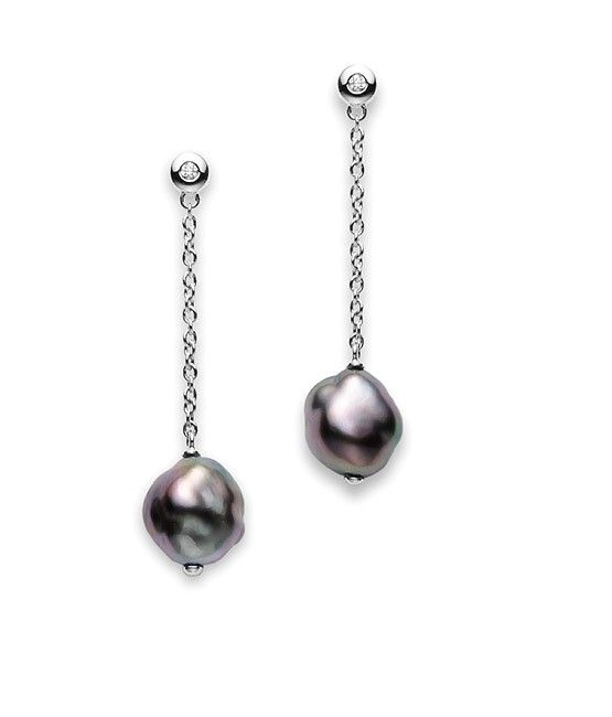 Mikimoto Baroque Black South Sea Earrings At Colonial Jewelers