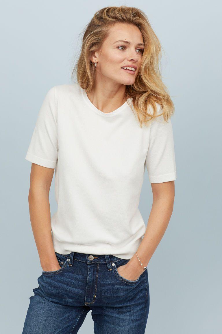 82030ef5a13 H M Fine-knit Sweater - White in 2019