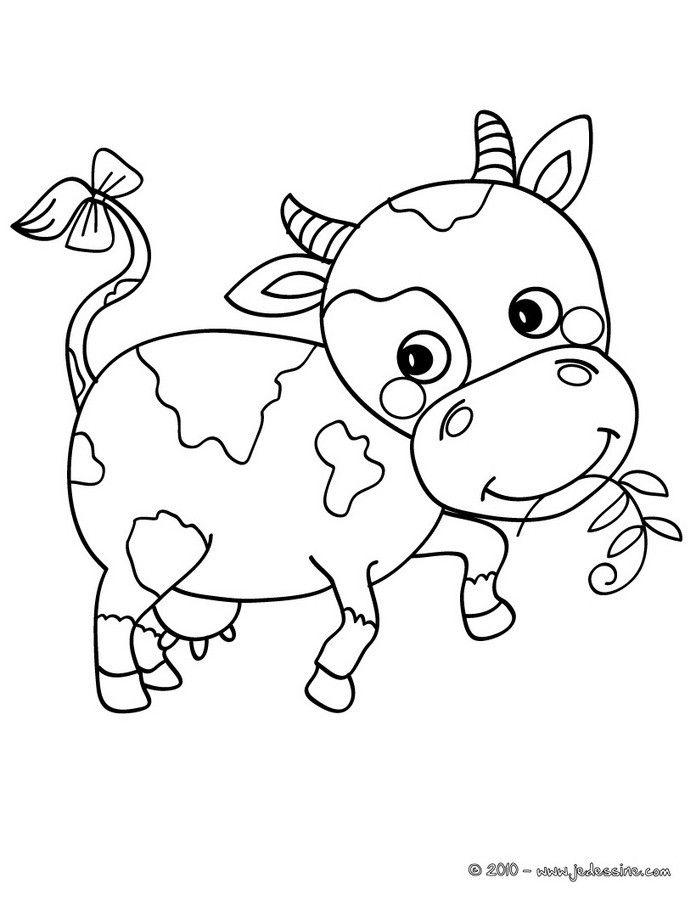 Coloriage d une petite vache avec un brin d 39 herbe dans la bouche et un petit noeud sur la queue - Dessin d une vache ...
