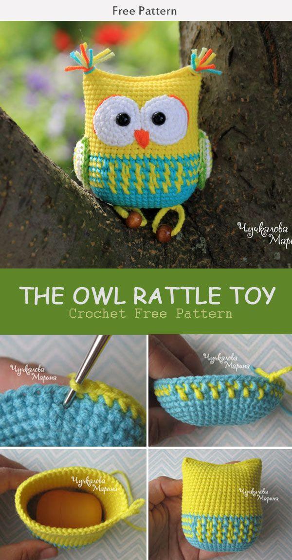 The Owl Rattle Toy Crochet Free Pattern | Muñecos en crochet ...