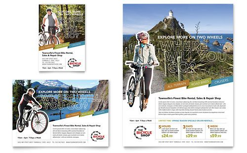 Bike Rentals  Mountain Biking  Flyer Template Design Sample