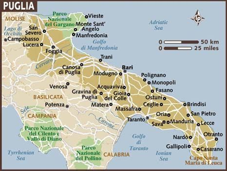 Carta di Puglia map of the FABOULOUS PUGLIA REGION