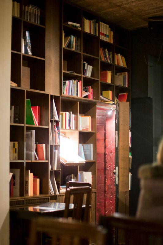 The Golden Bun Golem Bar, Hamburg with hidden door bookshelf - heimat küche bar