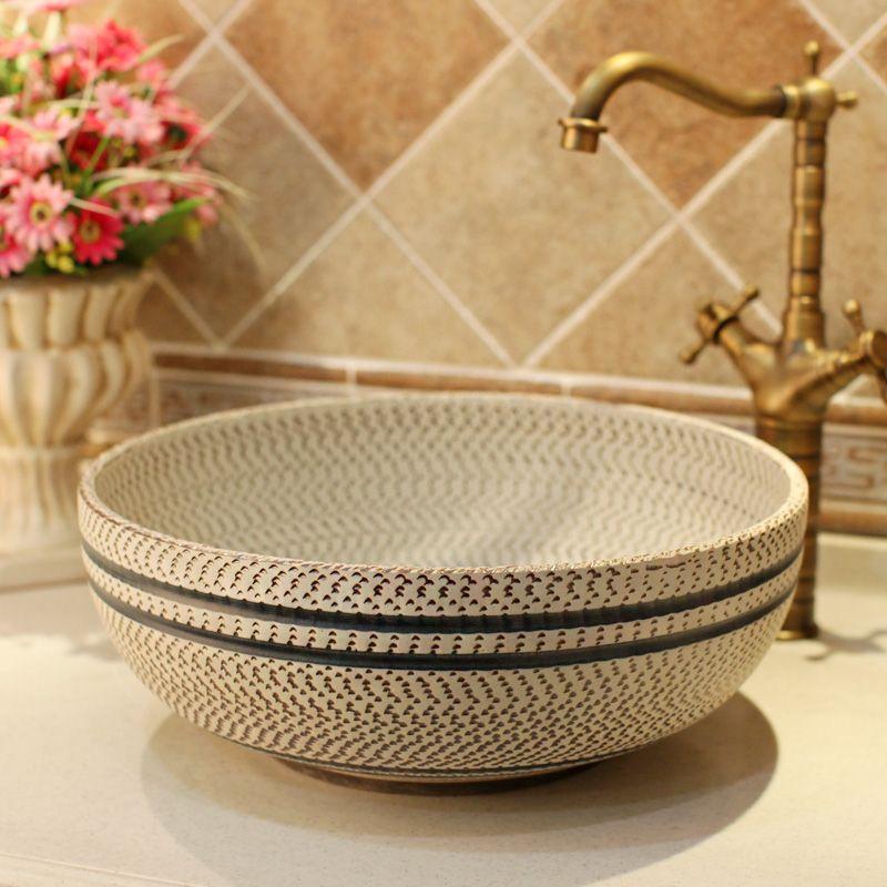 Thread Pattern Ceramic Painting Art Lavabo Bathroom Vessel Sinks
