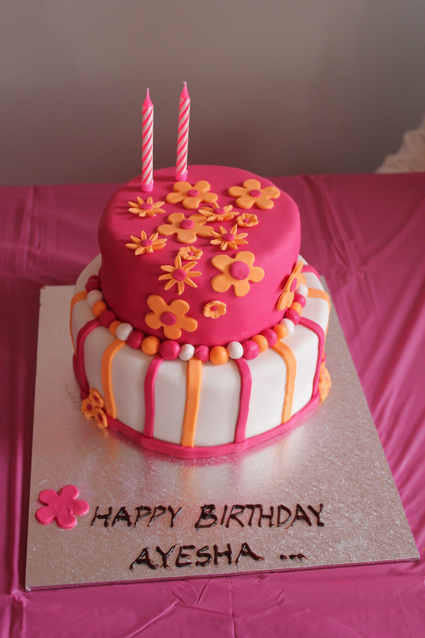 Pink and Orange Cake | Cupcake cakes, Orange birthday cake ...