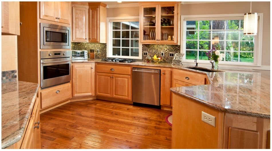 Wolf Saginaw Honey Kitchen Cabinets Factory Direct Price Hardwood Floors In Kitchen Wood Floor Kitchen Maple Kitchen Cabinets