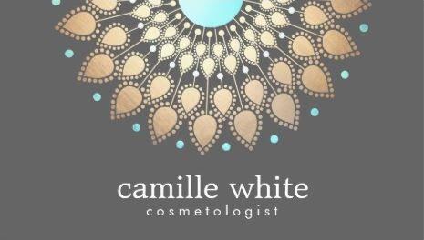 Luxury Cosmetology Soft Gold Turquoise Ornate Motif Gray Business ...