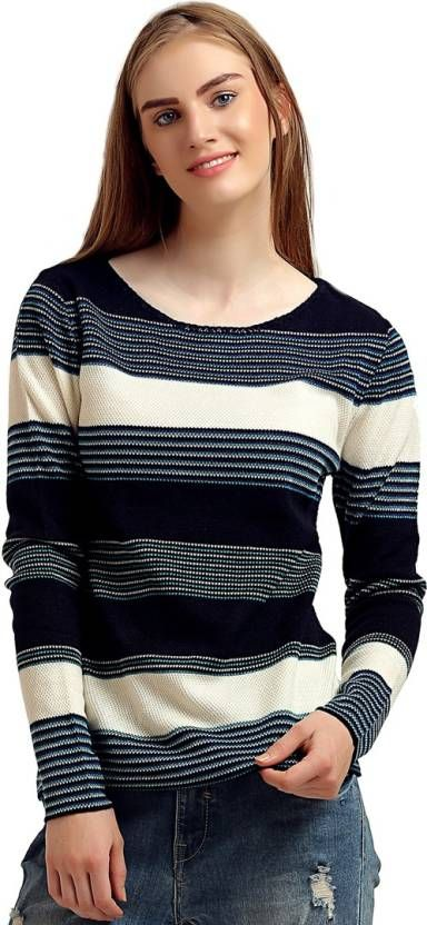 7849f27ad59074 Moda Elementi Round Neck Striped Women's Pullover | FEMALE WINTER ...
