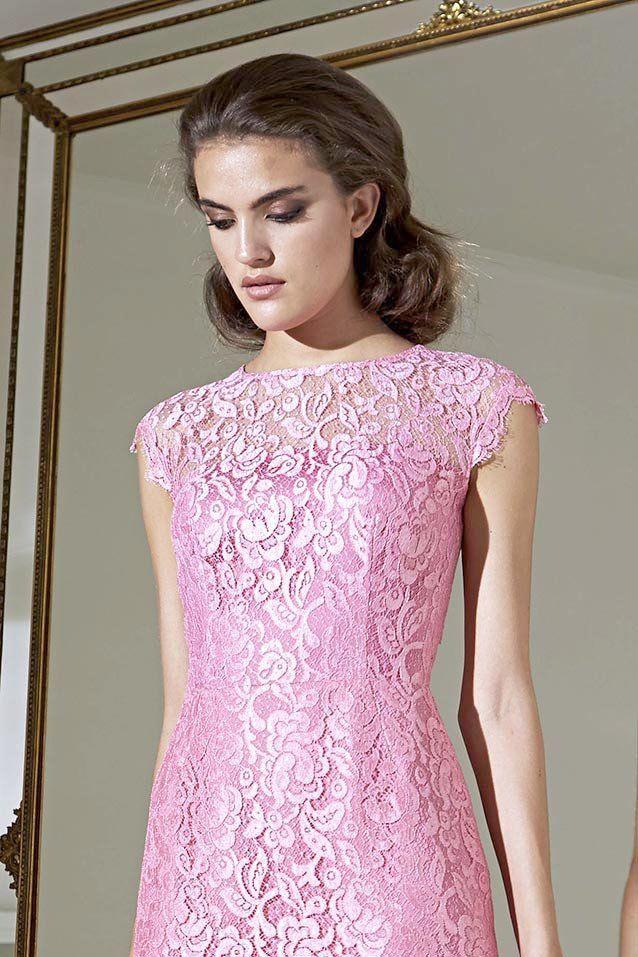 Vestido de fiesta corto en chantilly color rosa de Moskada 4202 ...