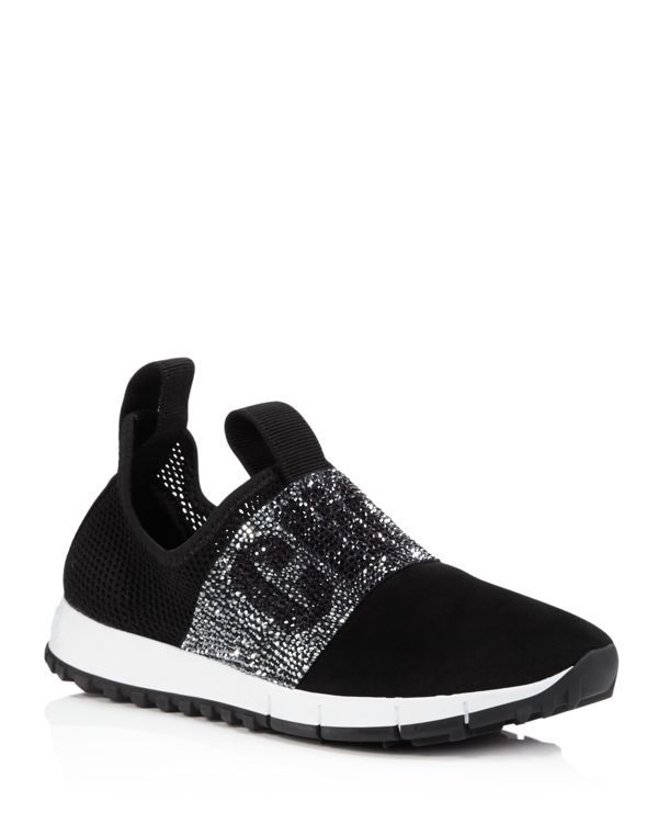 Black Suede and Mesh Oakland Slip-On Sneakers Jimmy Choo London 2RJsH