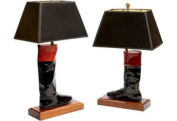 Jockey Boot Lamps Pair Lamp Vintage Market Vintage
