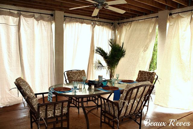 Drop cloth patio curtains Garden ideas Pinterest Cortinas