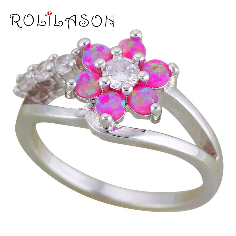 ROLILASON Flower rings for teen girls Pink Fire Opal 925 Silver ...