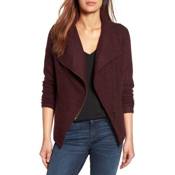 Petite Womenu0027s Halogen Knit Moto Jacket (u20ac83) ❤ liked on Polyvore - bodenbelag f r k che