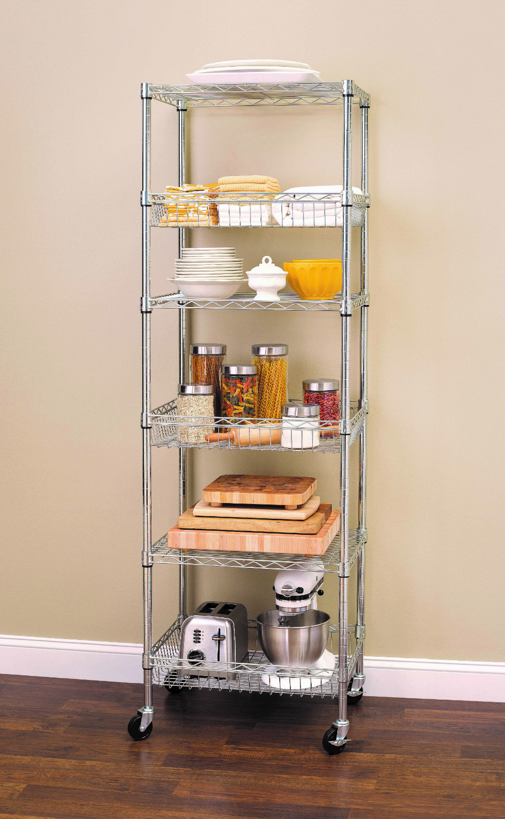 Hss 18 Dx24 Wx75 H 6 Tier Wire Shelving Tower Rack With Casters Chrome Walmart Com Kitchen Appliance Storage Appliances Storage Kitchen Rack