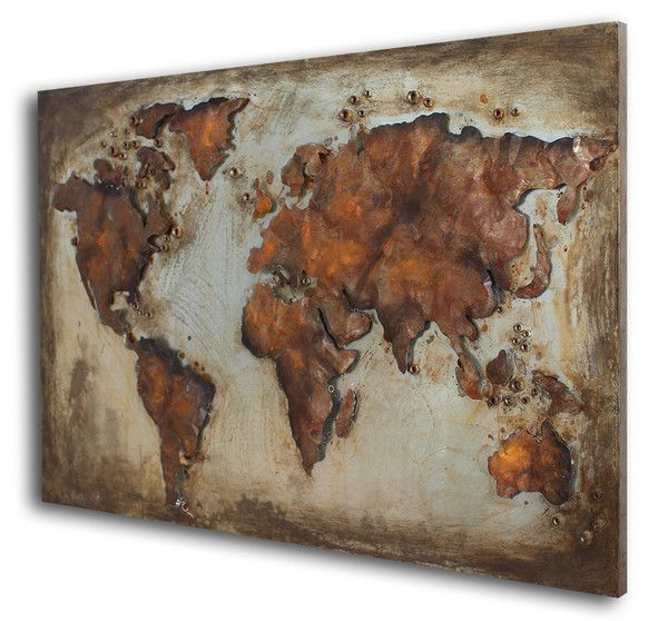 Home Accessoires Trend.  EARTH. Abstract worldmap handcrafted out of metal. The continents are separate parts welded onto the metal main plate.  Rustique Look and amazing colors.  Size: 120x80x4cm