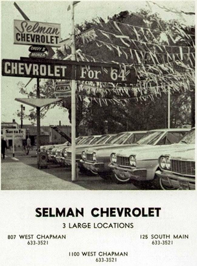 1964 Selman Chevrolet Dealership Orange California Chevy Dealerships Chevrolet Dealership Car Memorabilia