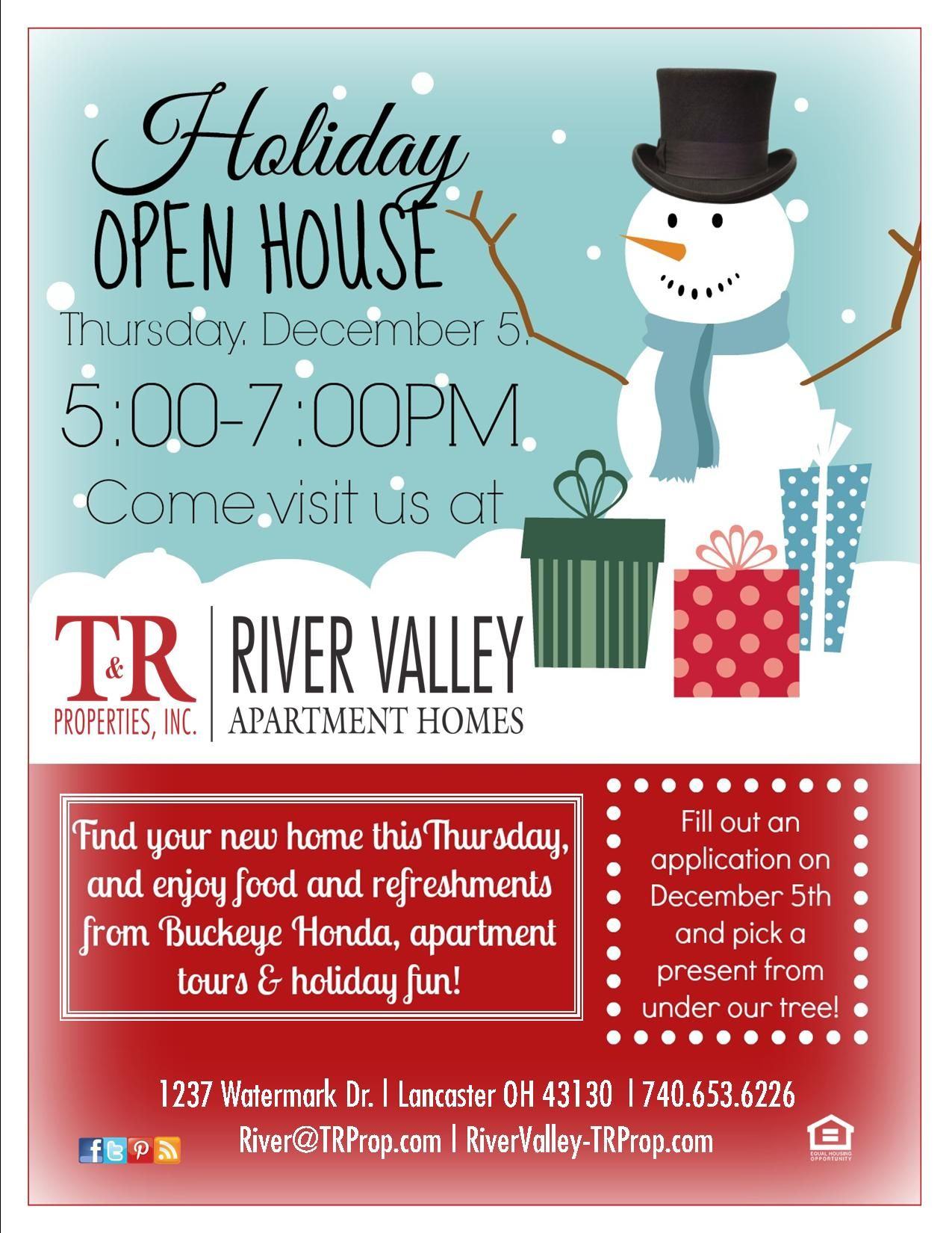 River Valley Apartment Homes In Lancaster Oh Http Www Rivervalley Trprop Com Holiday Flyer Party Open House Student House Senior Living