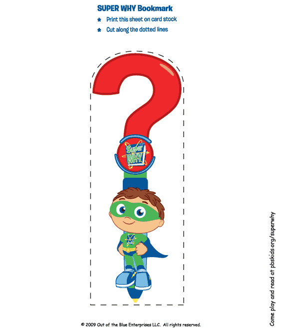 Bookmark Favor Print On Cardstock Super Why Birthday Super Why Super Why Party