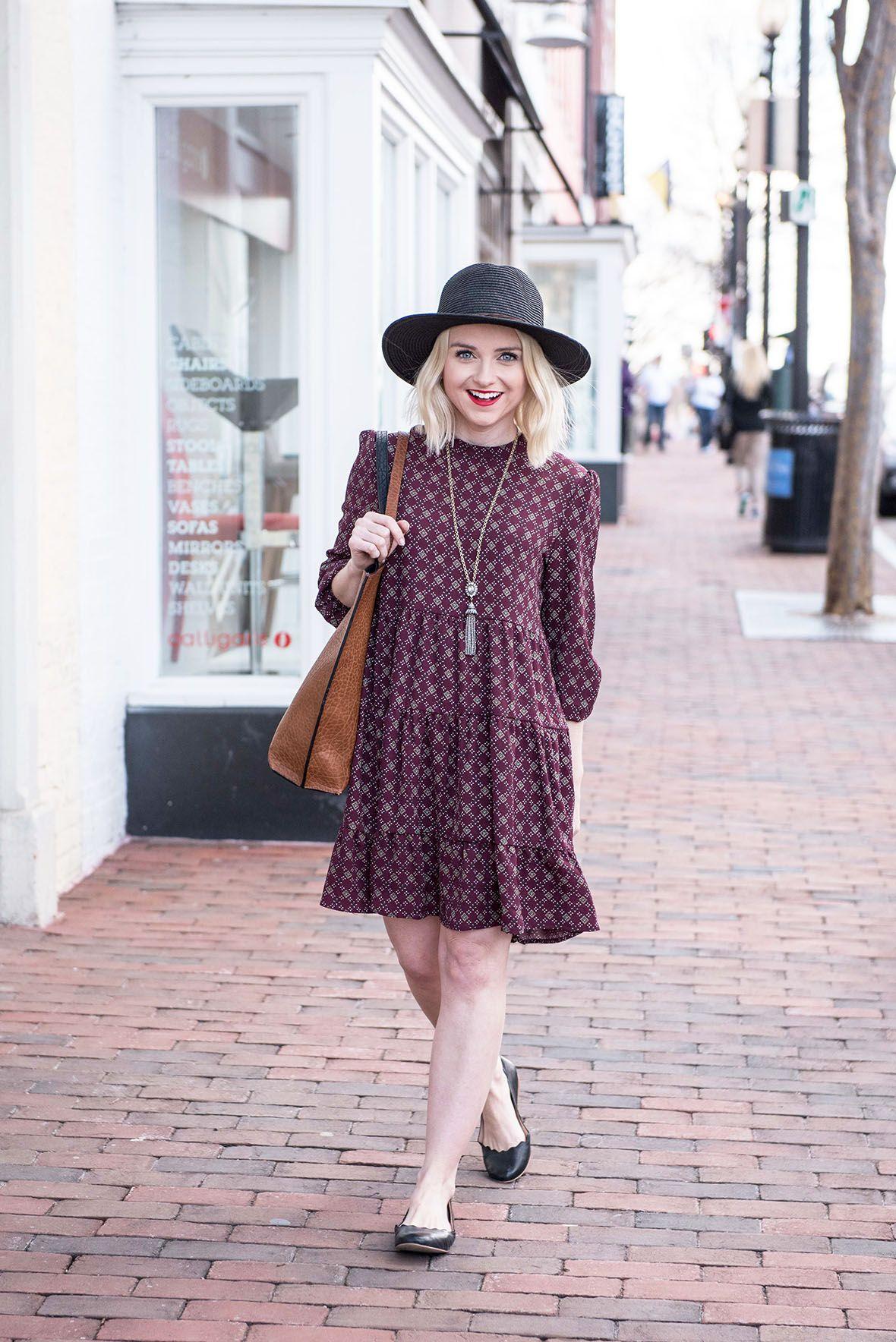 jewel tone floral dress, black hat and flats