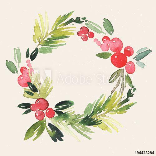 Christmas wreath watercolor. Handmade. Holiday card.                                                                                                                                                                                 More